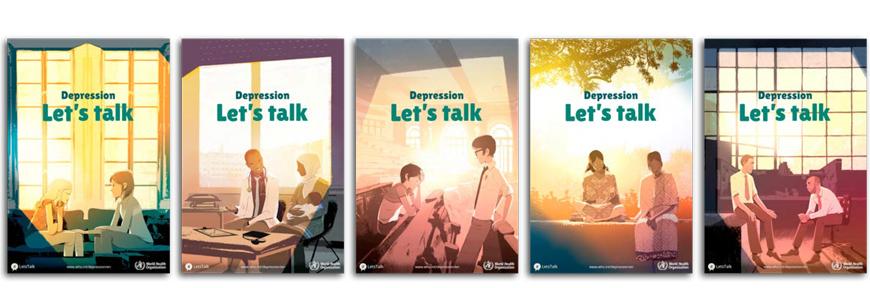 Cada cartaz da campanha retrata uma conversa entre duas pessoas sobre depressão.
